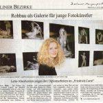 """Zeitungsartikel in """" Die Welt """" der Ausstellung mit der Abschlusssklasse """"Lette Verein"""" für Fotodesign Berlin."""