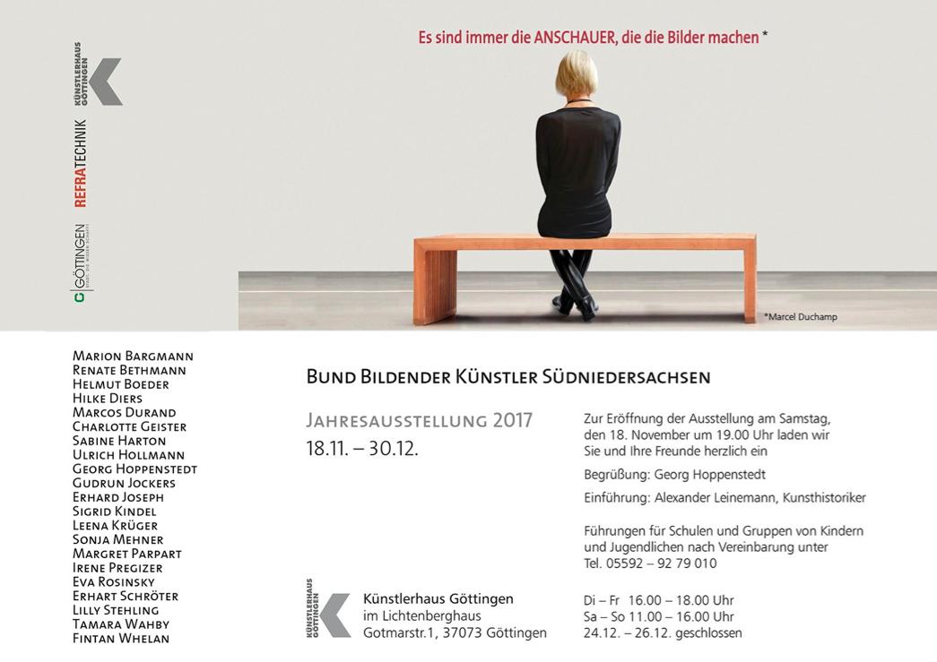 Einladung zur Jahresausstellung 2017 des Bund Bildender Künstler Südniedersachsens.