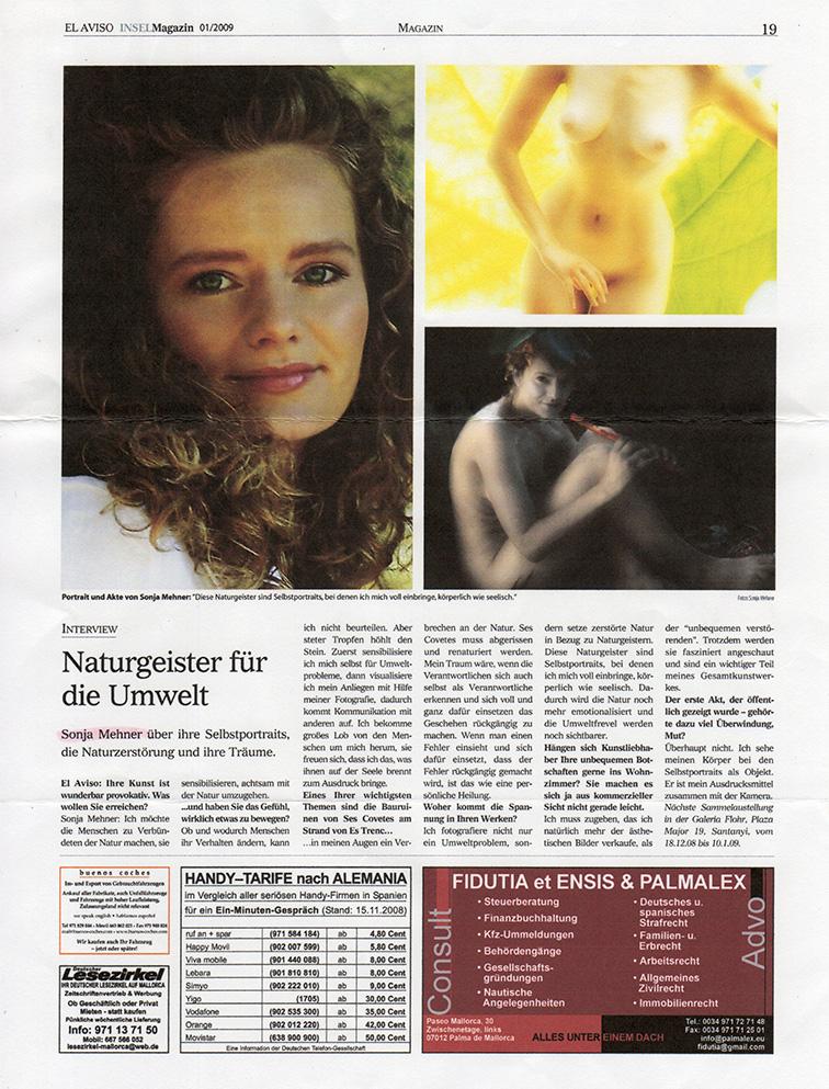 """Zeitungsartikel über mein Fotokunstprojekt auf Mallorca """" Naturschutz & Naturgeister. Danke an Martin Maul für seine Unterstützung."""